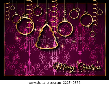 Seasonal Christmas Background for your Christmas Flyers, dinner invitations, festive posters, restaurant menu cover, book cover,promotional depliant, Elegant greetings cards and so on. - stock vector
