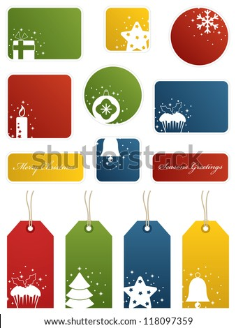 seasonal christmas labels and gift tags with motifs, isolated on white - stock vector