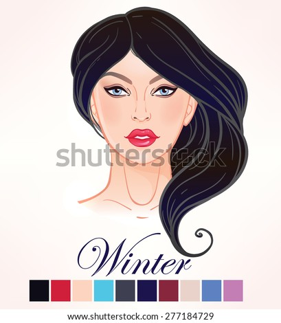 Seasonal color types for women skin beauty set element: Winter. Beautiful girls face portrait, make up shades matching each type. Cold tones. Isolated Vector illustration. Make up artist template.  - stock vector