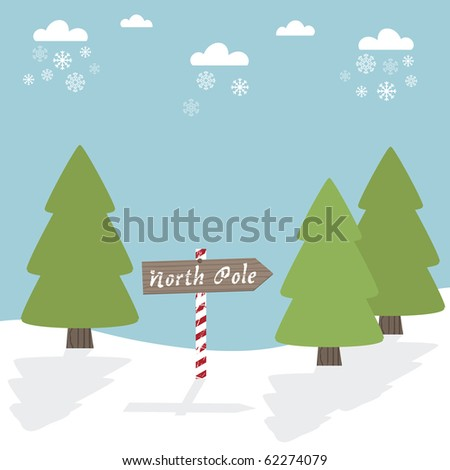 seasonal greeting card with trees and north pole sign - stock vector