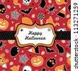 seasonal halloween frame with ribbon on halloween pattern background - stock vector