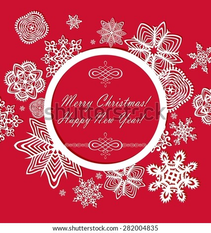 Seasonal ornate red greeting with paper frame and snowflakes - stock vector
