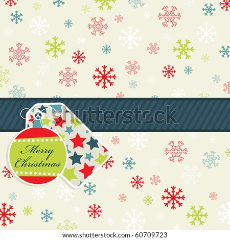 seasonal red, blue and green snowflake background with gift tags