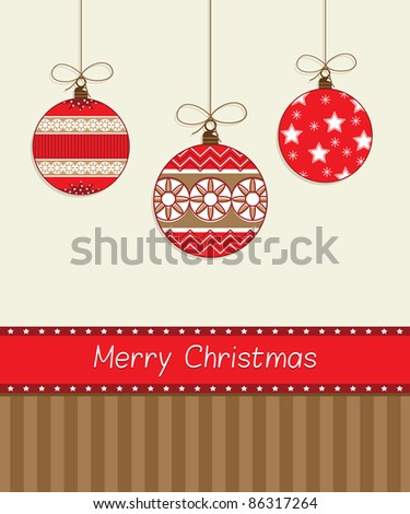 seasonal red hanging decorations with merry christmas banner - stock vector