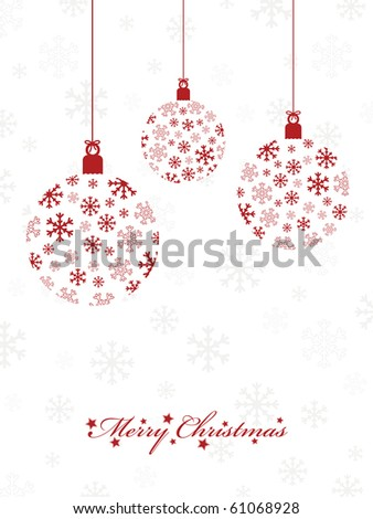 seasonal red snowflake hanging decorations on white - stock vector