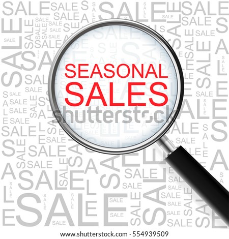 Seasonal Sales. Magnifying glass over seamless background with different association terms. Business Concept.