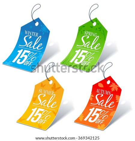 Seasonal Shopping Sale 15 Percent Off Discount Price Tags