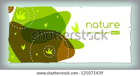 Seasonal spring template design, frame, with green grass and paper.