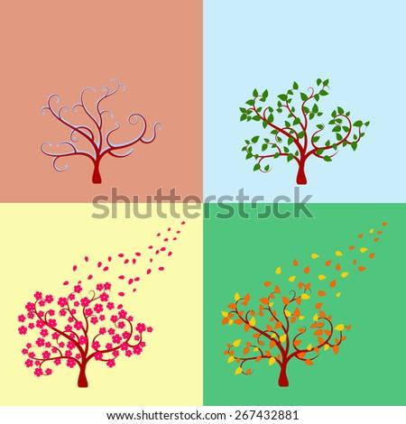 Seasonal tree. Spring, summer, autumn, winter - stock vector