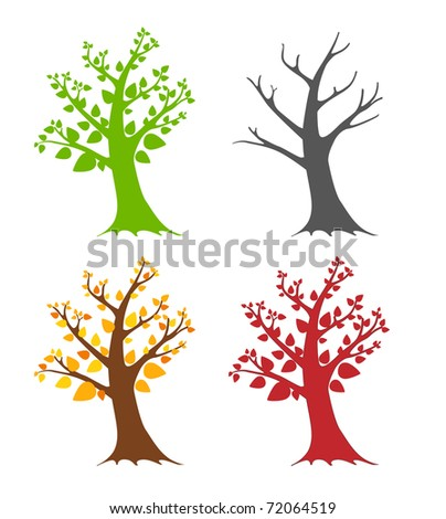 Seasonal trees - stock vector