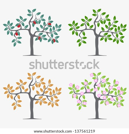 Seasonal trees. Vector set