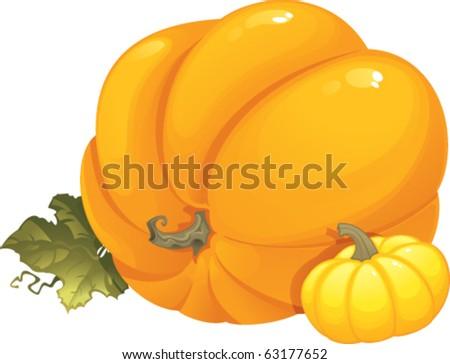 Seasonal vector illustration with pumpkins. - stock vector