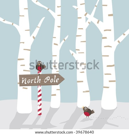 seasonal winter landscape greeting card with north pole sign and robins - stock vector