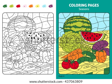 Seasons coloring page for kids, august month.Printable design coloring book. Coloring puzzle with numbers of color. Black and white draw with color example. Coloring book. Color numbers book. - stock vector