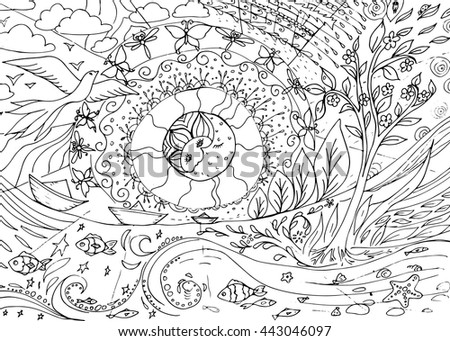 seasons day and night nature coloring book page for older children and adults - Nature Coloring Book