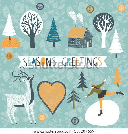 Seasons Greetings Card - stock vector