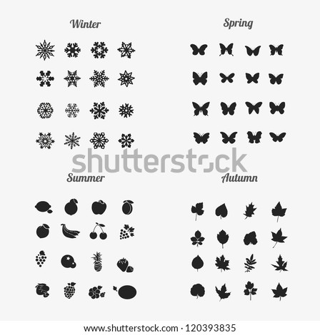 seasons icons (winter , Spring , Summer ,Autumn) - stock vector