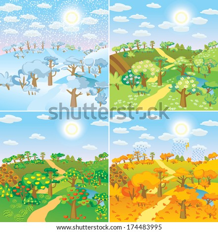 Seasons in the countryside. Beautiful natural landscapes at different time of the year - winter spring, summer, autumn Vector illustration - stock vector