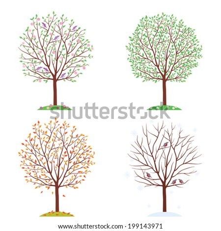 Seasons. Trees in spring, autumn, summer and winter. Vector illustration. - stock vector