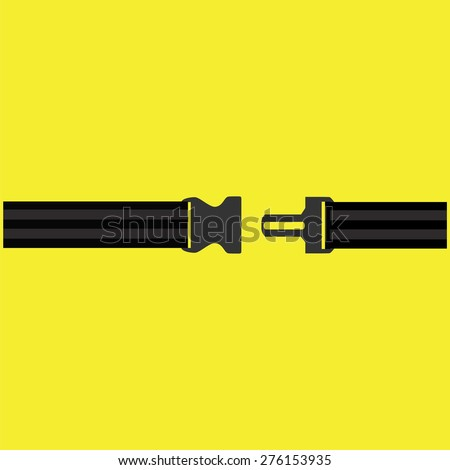 Seat belt on yellow background vector isolated. Safety belt symbol, security belt sign. - stock vector