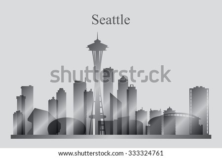 Seattle city skyline silhouette in grayscale, vector illustration - stock vector