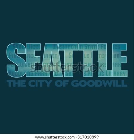 Seattle graphic emblem on dark background. Label for t-shirt. Typography vector design. CMYK color mode - stock vector