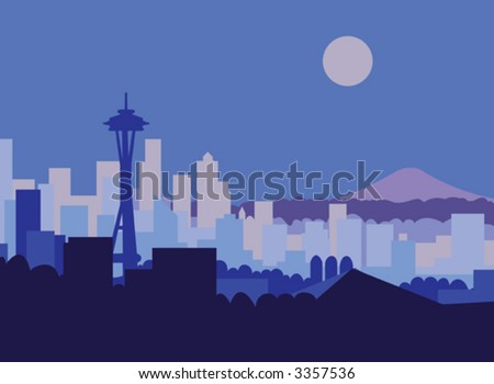 Seattle skyline and Mt Rainer against moonlit sky. - stock vector