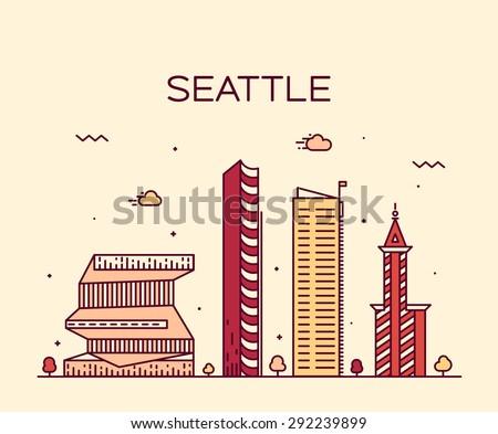 Seattle skyline, detailed silhouette. Trendy vector illustration, linear style. - stock vector