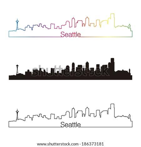 Seattle skyline linear style with rainbow in editable vector file - stock vector