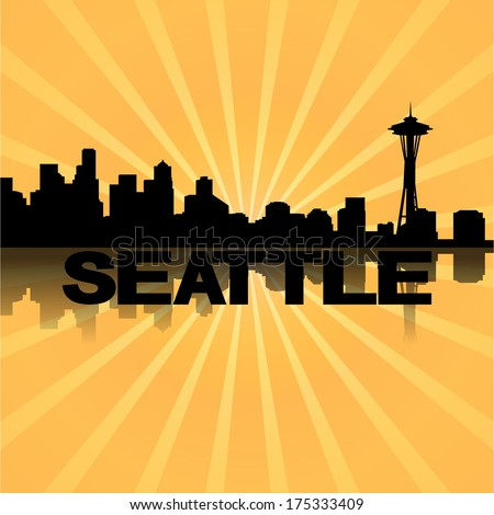 Seattle skyline reflected with sunburst illustration  - stock vector