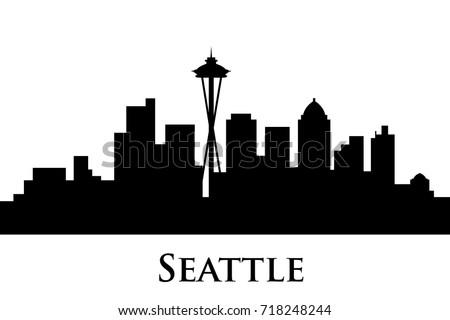 seattle skyline vector stock vector 718248244 shutterstock rh shutterstock com Skyline Silhouette Vector free seattle skyline logo vector