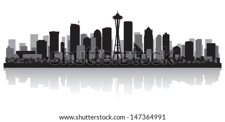 Seattle USA city skyline silhouette vector illustration - stock vector