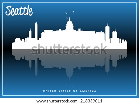 Seattle, USA skyline silhouette vector design on parliament blue background.