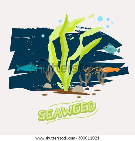 seaweed under water with fish, octopus and Swordfish  - vector  illustration - stock vector