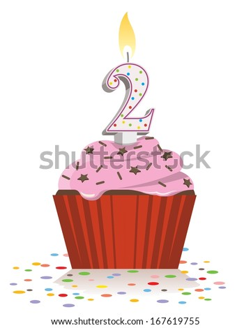 second birthday cupcake with lit candle in shape of number two  - stock vector