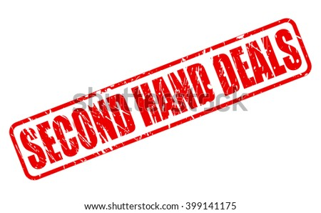 SECOND HAND DEALS RED STAMP TEXT ON WHITE - stock vector