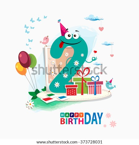 Second Happy Birthday card. Happy third birthday card vector with gift box and balloons - stock vector