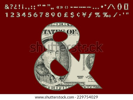 Second Part of One Hundred Dollars Banknote Style Font Set - stock vector