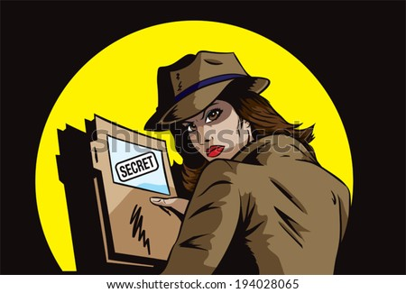 Secret agent with plans - stock vector