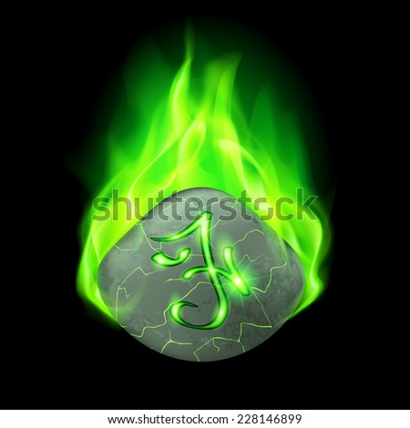 Secret cracked stone with magic rune in green flame