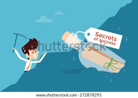 secret of success flat design business concept - stock vector