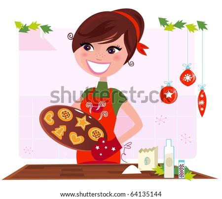 Secret recipe: Woman preparing christmas cookies. Vector Illustration - stock vector