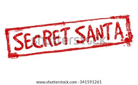 Secret Santa grunge rubber stamp on white background, vector illustration - stock vector