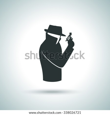 Secret service agent. Man in suit with gun icon - stock vector