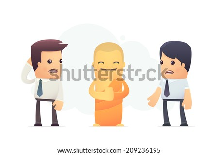 Secrets of Tibetan monks. conceptual illustration - stock vector