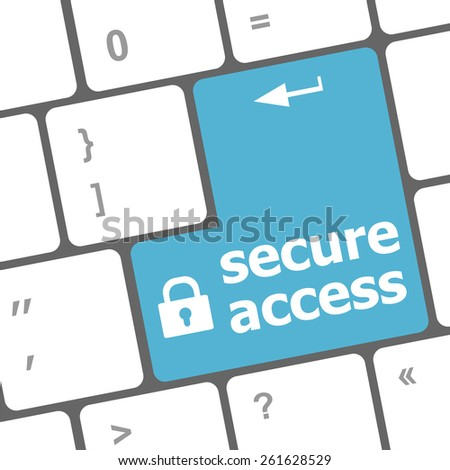 secure access, close up view on conceptual keyboard, Security blue key - stock vector