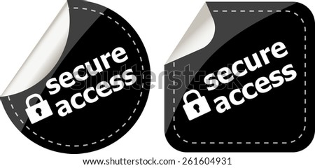 secure access with lock on black stickers set - stock vector