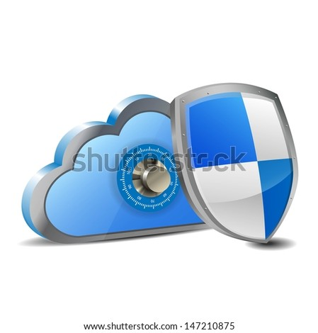 secure cloud computing - stock vector