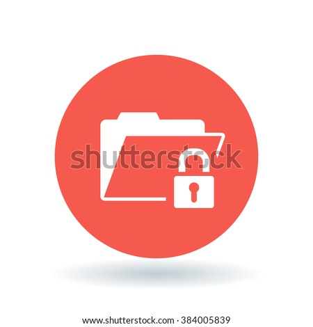 Secure folder icon. Folder with padlock sign. Password protected document symbol. White  icon on red circle background. Vector illustration. - stock vector