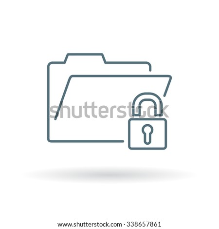 Secure folder icon. Secure folder sign. Secure folder symbol. Thin line icon on white background. Vector illustration. - stock vector